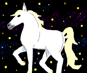 White horse in space