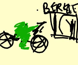 """Froggie bikes to his school """"UC Berkley"""""""
