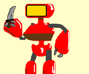 Red robot with knife