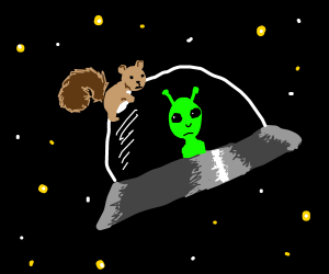 Squirrel hitching a ride on  a UFO