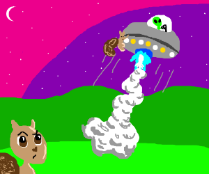 squirrel hitches a ride with alien in space