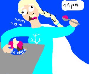 Elsa eats all the ice-cream at night