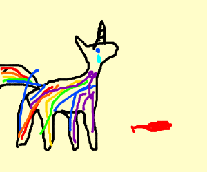 Generic rainbow unicorn with defated baloon.
