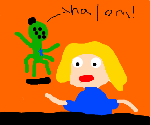 A blonde is being stalked by a mutated Jew