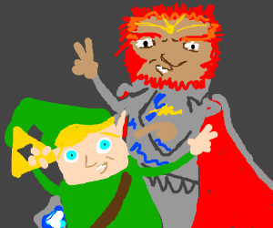 Link taking a selfie with a red-head guy !