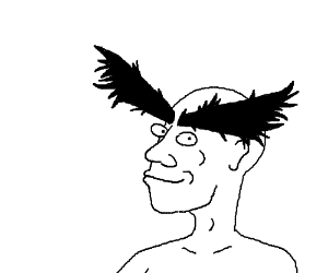 Bald smiling guy with giant black eyebrows