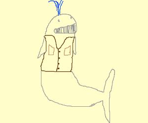 Whale wearing a cowboy vest.