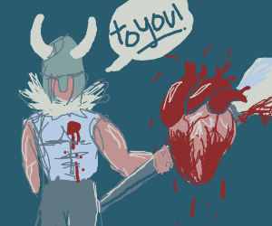 Romantic viking offers his heart on a pike