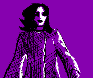 female model in the wind, drawn in purple
