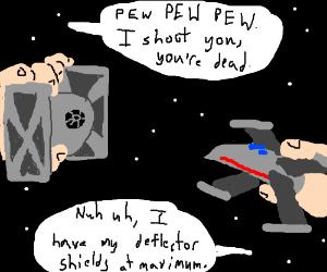 TIE fighters fire on X-Wing, PEW PEW PEW!