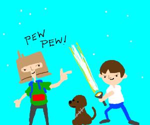 kids playing star wars