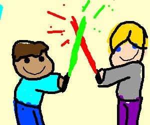Kids pretending to be StarWars characters