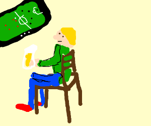 Man sitting in a chair; Blond Hair