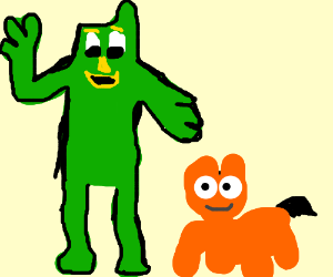Gumby presents a four-legged orange creature