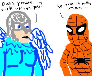 Superheroes Birdman and Spider discuss spandex