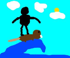 Guy riding a swag beaver