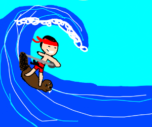 Ninga surfs on bever