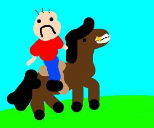 A man riding a horse...