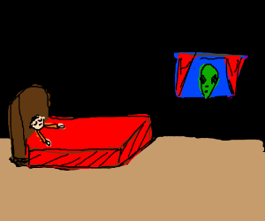alien watching sleeping child