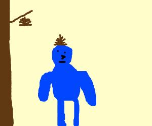 blue man wearing a pinecone
