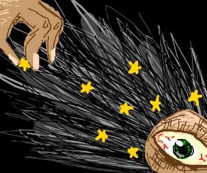 Eyeball tortured by stars