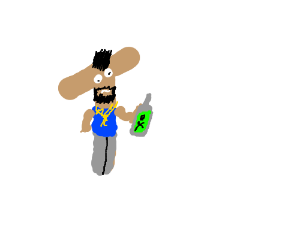 Mr. T holding a poison bottle.