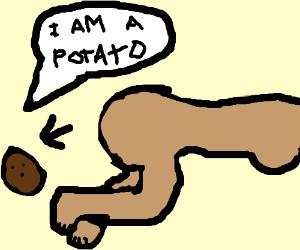 Girl pooping a potato while naked