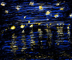 ImpressionistPaintingOfStarsReflectingOnWater