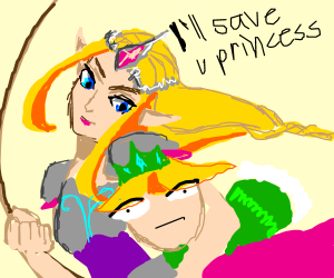 Zelda saving the princess.