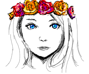Girl with bright blue eyes wears a flowercrown