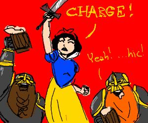 Snow White with sword and some drunken dwarfs