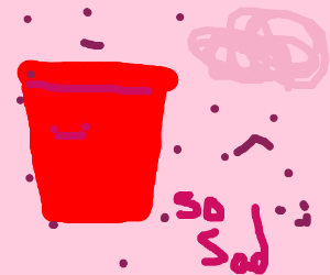 Cup is sad and is bleeding from a cut