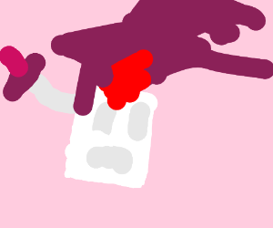 Disgusted marshmallow head bleeds plum juice