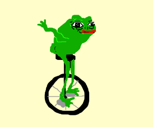 A frog on a unicycle