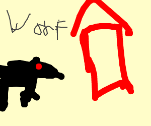 Angry dog barking at a red house