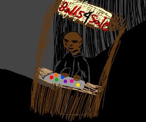 bald black dude selling balls