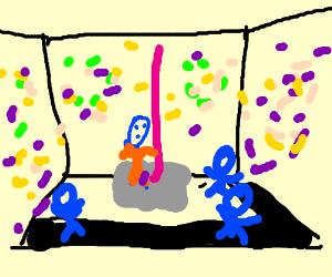 A blue lady with burqa making a strip tease