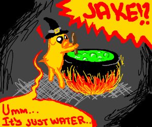 jake the dog is in a boiling pot of water