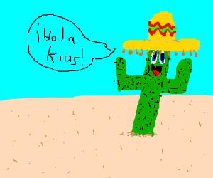 Sombrero-wearing anthropomorphic cactus