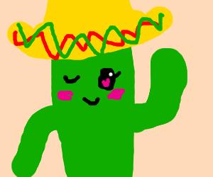 Cute Mexican cactus in a sombrero