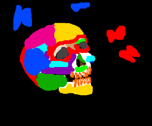 colorfull skull with butterflies around