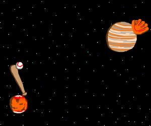Mars and Jupiter playing baseball