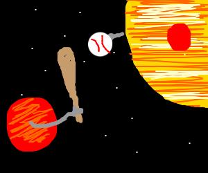 Mars and Jupiter play baseball