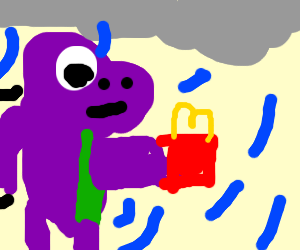 Barney the pink dino gets fast food