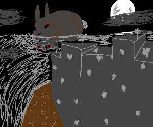 A giant rabbit-kaiju looms over the ocean