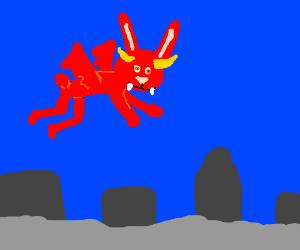 Demon bunny flies over the foggy city