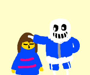 Frisk being comforted by Sans