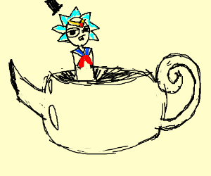 sailor rick in a tea pot wearing a top hat