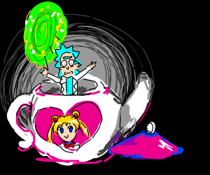 Rick teleports to Sailor Moon teapot