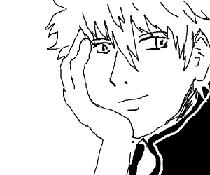 A very well drawn manga dude w/ messy hair